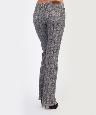 Gray Mad Reptile Mid-Rise Bootcut Jeans