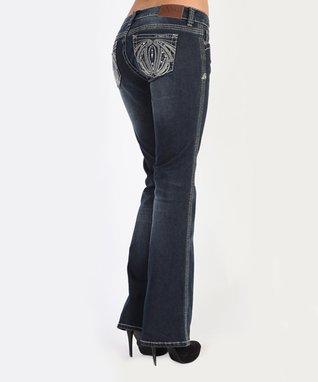 Dark Stone Sequin Castle Low-Rise Bootcut Jeans
