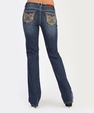 Dark Stone Striker Low-Rise Bootcut Jeans