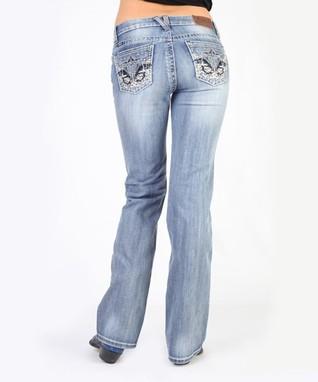 Dark Stone Indigo Flower Embroidered Low-Rise Bootcut Jeans