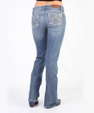 Light Stone Galactic Trellis Mid-Rise Bootcut Jeans