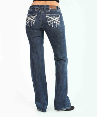 Dark Stone Sequin Low-Rise Bootcut Jeans