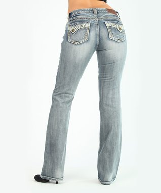 Light Stone Summer Love Low-Rise Bootcut Jeans