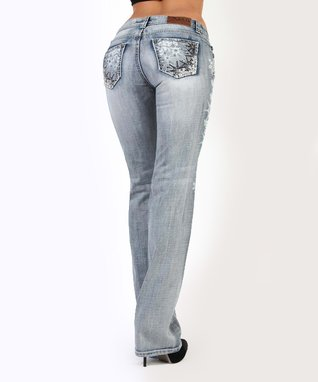 Light Stone Spurs & Sprockets Mid-Rise Bootcut Jeans