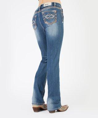 Light Stone Geometric Getaway Mid-Rise Bootcut Jeans