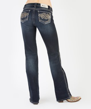 Dark Stone Fanciful Filigree Mid-Rise Bootcut Jeans