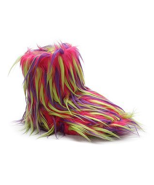 Estee & Lilly Pink & Purple Fuzzy Boot Slipper