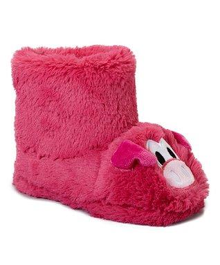 Estee & Lilly Fuchsia Pig Boot Slipper