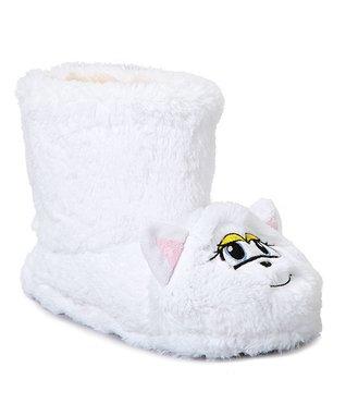 Estee & Lilly White Cat Boot Slipper