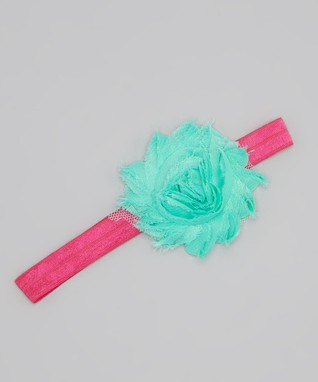 Aqua & Hot Pink Flower Headband