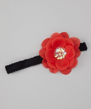 Black & Pink Sequin Flower Headband