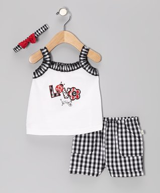 Duck Duck Goose Black Plaid 'Love Bug' Ruffle Top Set - Infant