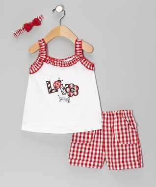 Duck Duck Goose Red Plaid 'Love Bug' Ruffle Top Set - Infant