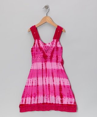 Hibiscus Pink Barre-Dye Sequin Dress - Toddler & Girls