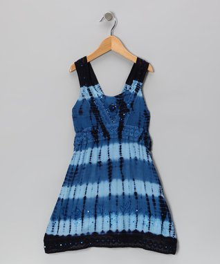 Navy Barre-Dye Sequin Dress - Toddler & Girls