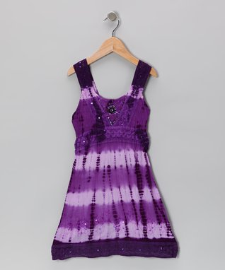 Purple Jewel Trim Barre-Dye Dress - Toddler & Girls
