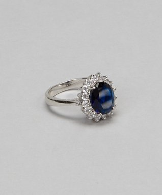 Blue Cubic Zirconia Bezel Eternity Ring