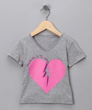 Heather Gray 'Heartbreaker' V-Neck Tee - Toddler & Girls