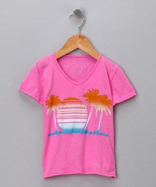 Hot Pink Sunset V-Neck Tee - Toddler & Girls