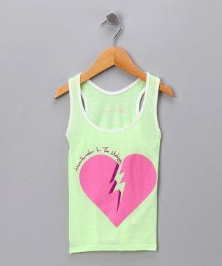 Lime Green 'Heartbreaker' Tank - Girls
