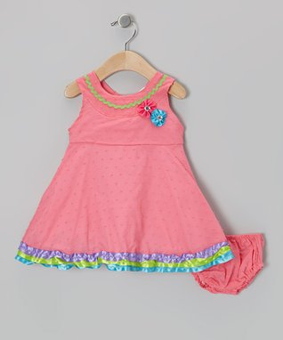 the Mini Sissy Pink Butterfly & Flower Dress & Diaper Cover - Infant