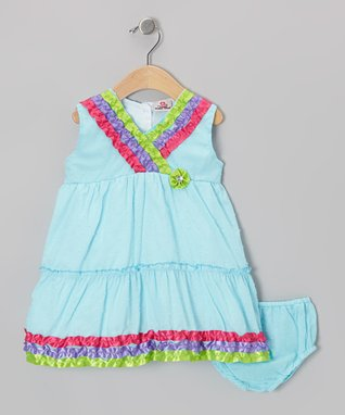 Real Love Green Butterfly Poplin Dress Set - Infant