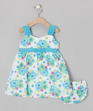 Gold & Gray Flower Ruffle Dress - Infant, Toddler & Girls