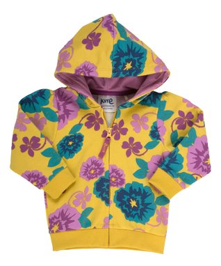 Gold & Teal Floral Organic Zip-Up Hoodie - Infant & Toddler