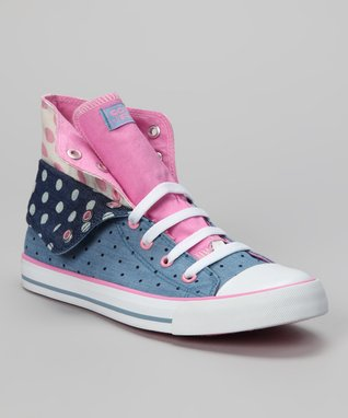 Gotta Flurt Pink & Blue Polka Dot Twist Me Convertible Hi-Top Sneaker