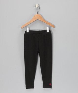 Raspberry & Silver Stripe Leggings - Girls
