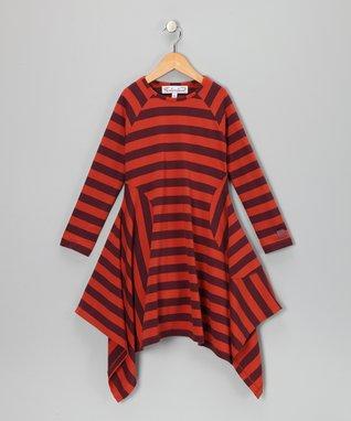 Chocolate & Caramel Stripe Kara Handkerchief Dress - Girls