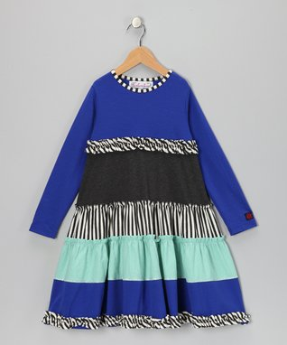 Sapphire Color Block Tiered Lacy Dress - Toddler & Girls
