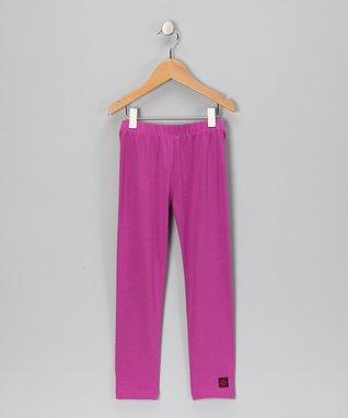 Charcoal & Berry Stripe Leggings - Girls
