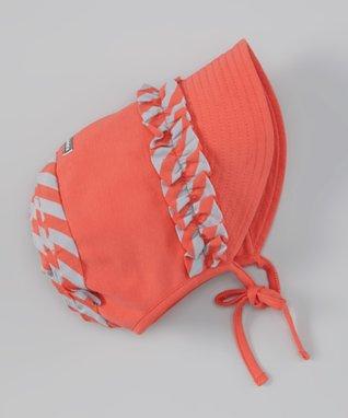 Coral Frill Stripe Bonnet