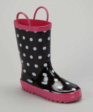 Foxfire Black & White Polka Dot Rain Boot