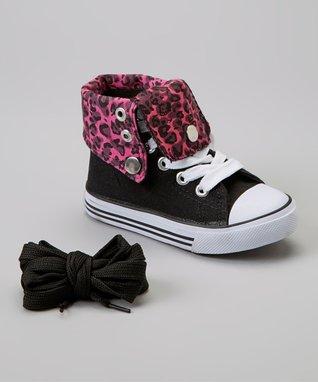 Collection'O Black & Fuchsia Leopard Hi-Top Sneaker