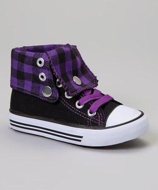 Collection'O Black & Purple Classic Hi-Top Sneaker