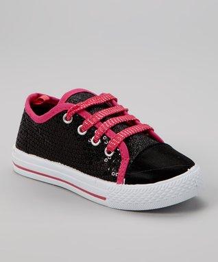 Blue Suede Shoes Black & Pink Sequin Sneaker