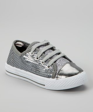 Blue Suede Shoes Silver Sequin Sneaker