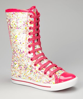 Gotta Flurt Hot Pink Confetti Luv Knee-High Sneaker