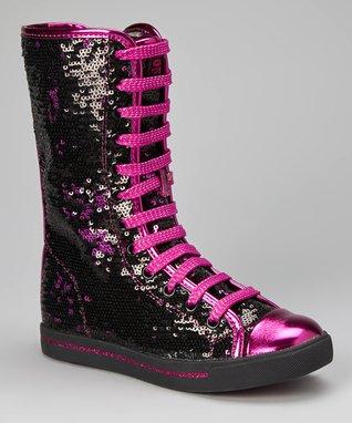 Gotta Flurt Black & Hot Pink Galaxy Knee-High Sneaker
