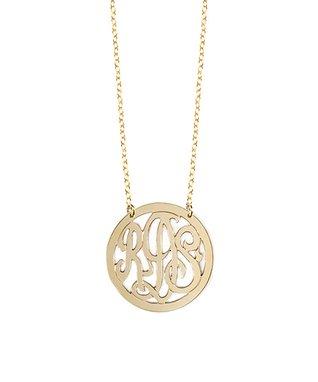 Gold Cutout Monogram Pendant Necklace