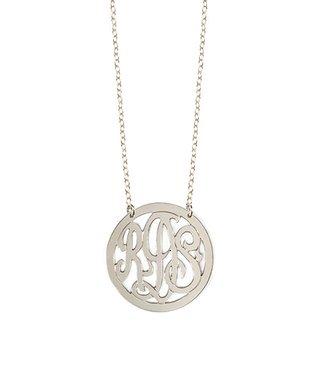 Sterling Silver Cutout Monogram Pendant Necklace