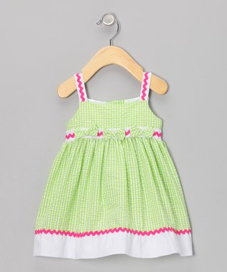 Lime Rickrack Seersucker Dress - Infant