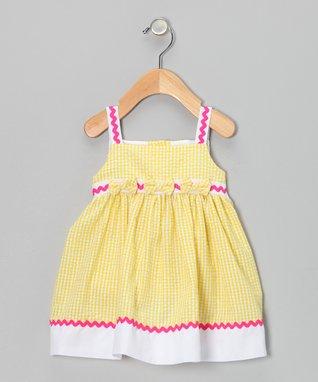 Yellow Rickrack Seersucker Dress - Infant