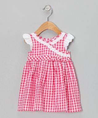 Red Gingham Seersucker Surplice Dress & Diaper Cover - Infant