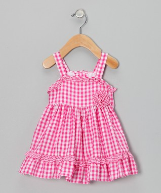 Fuchsia Gingham Seersucker Dress - Infant