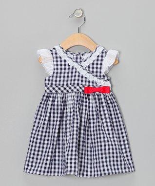 Navy Gingham Seersucker Surplice Dress - Infant