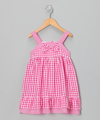 White & Pink Bow Dress & Diaper Cover - Infant