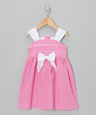 Fuchsia Gingham Bow Seersucker Dress - Toddler